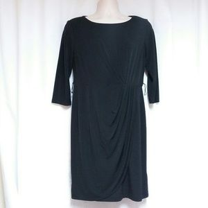 Black Faux Wrap-Style Dress by  ABGDress Size 12